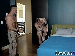 Gay hunk rides cock bareback
