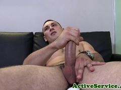 Ripped army stud jerking off with passion