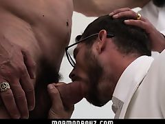 MormonBoyz - Two bearded daddies double fuck a horny Mormon