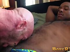 Bald daddy and his black lover ass fuck each other hard