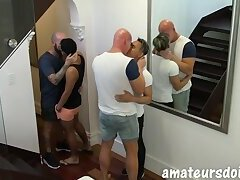 Asian jock joins amateur group for cum eating and bareback foursome